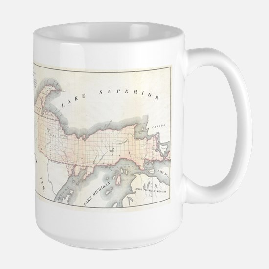 1849 Upper Peninsula Map Large Mug