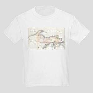 1849 Upper Peninsula Map Kids Light T-Shirt