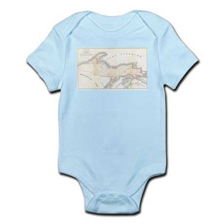 1849 Upper Peninsula Map Infant Bodysuit