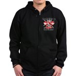 Fight is On Oral Cancer Zip Hoodie (dark)