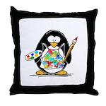 Artist penguin Throw Pillow