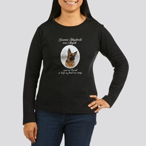 German Shepherd Angel Women's Long Sleeve Dark T-S