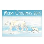 Merry Christmas Polar Bears Postcards (Package Of