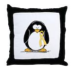 Yellow RIbbon penguin Throw Pillow