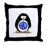 Peace penguin Throw Pillow