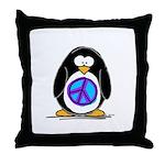 Peace penguin Throw Pillow