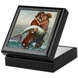 Mermaid and pirate Square Keepsake Boxes