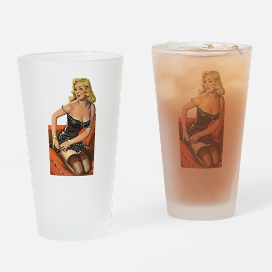 Blonde Pin-Up Drinking Glass