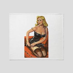 Blonde Pin-Up Throw Blanket
