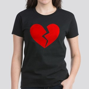 Red Broken Heart Symbol Women's Dark T-Shirt
