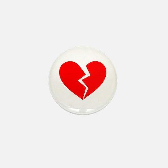 Red Broken Heart Symbol Mini Button