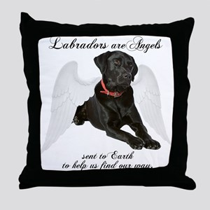 Black Lab Angel Throw Pillow