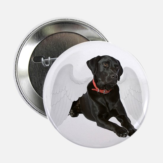 "Black Lab Angel 2.25"" Button"