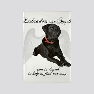 Black Lab Angel Rectangle Magnet