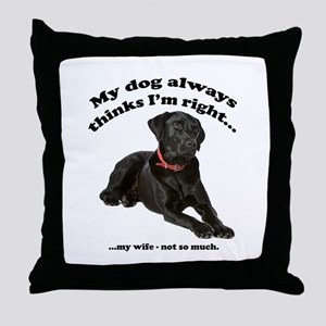 Black Lab vs Wife Throw Pillow