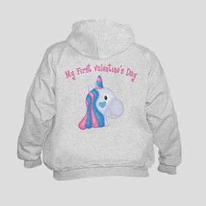 Unicorn 1st Valentine Kids Hoodie