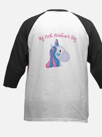 Unicorn 1st Valentine Kids Baseball Jersey