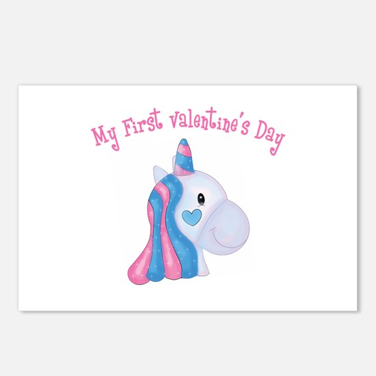 Unicorn 1st Valentine Postcards (Package of 8)