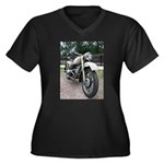 Vintage Motorcycle Women's Plus Size V-Neck Dark T