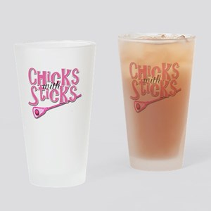 Lacrosse Chicks with Sticks Drinking Glass