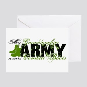 Granddaughter Combat Boots - ARMY Greeting Cards (
