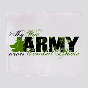 Wife Combat Boots - ARMY Throw Blanket
