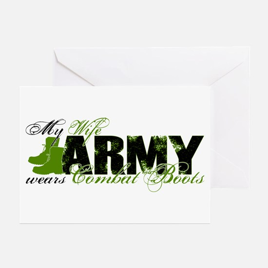 Wife Combat Boots - ARMY Greeting Cards (Pk of 10)