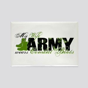 Wife Combat Boots - ARMY Rectangle Magnet