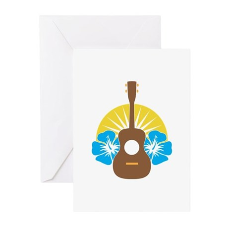 Ukulele Hibiscus Greeting Cards (Pk of 20)