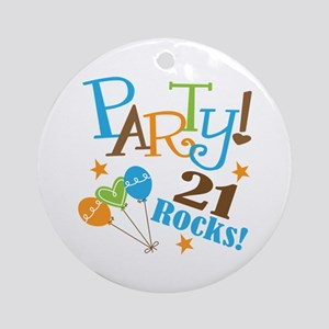 21 Rocks 21st Birthday Ornament (Round)