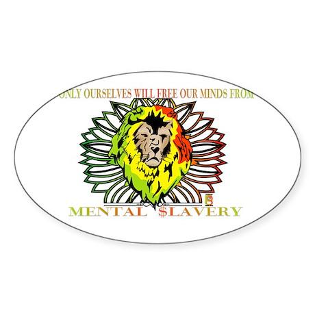 Rasta Lion Sticker (Oval)