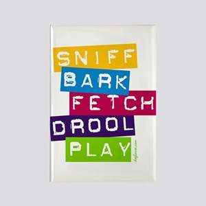 Sniff Bark Fetch Drool Play Rectangle Magnet
