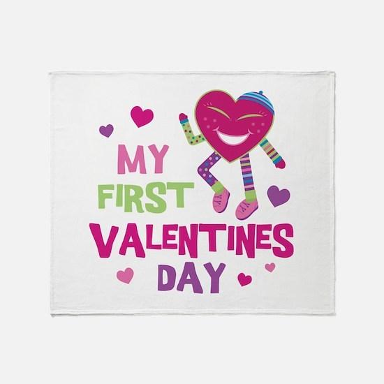 Funky 1st Valentine Throw Blanket