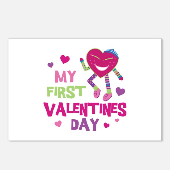 Funky 1st Valentine Postcards (Package of 8)