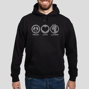 Peace Love Llama Hoodie (dark)