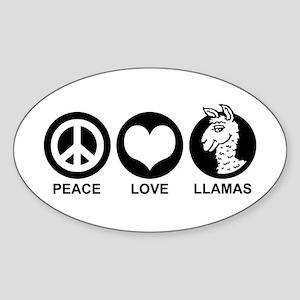 Peace Love Llama Sticker (Oval)
