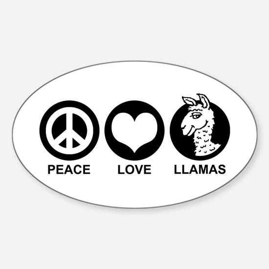 Peace Love Llama Sticker (Oval)