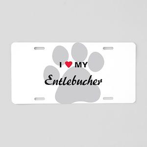 I Love My Entlebucher Aluminum License Plate