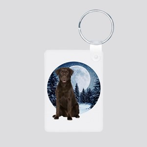 Chocolate Lab Aluminum Photo Keychain