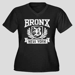 Bronx NY Women's Plus Size V-Neck Dark T-Shirt