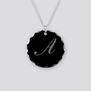 Letter A Necklace Circle Charm