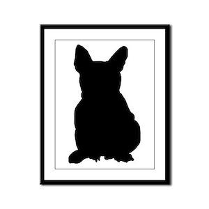 French Bulldog Silhouette Framed Panel Print