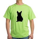 French Bulldog Silhouette Green T-Shirt