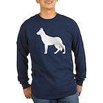 German Shepherd Silhouette Long Sleeve Dark T-Shir