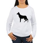 German Shepherd Silhouette Women's Long Sleeve T-S