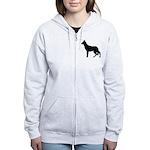 German Shepherd Silhouette Women's Zip Hoodie