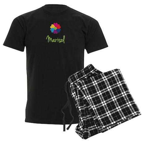 Marisol Valentine Flower Men's Dark Pajamas
