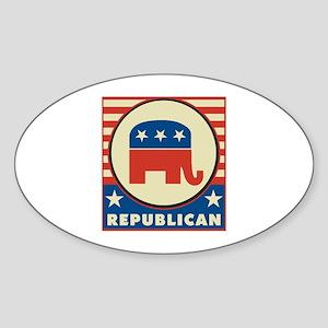 Retro Republican Sticker (Oval)