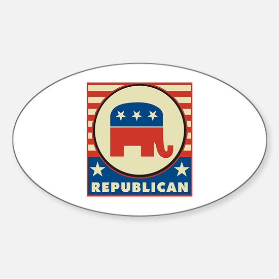 Retro Republican Sticker (Oval)