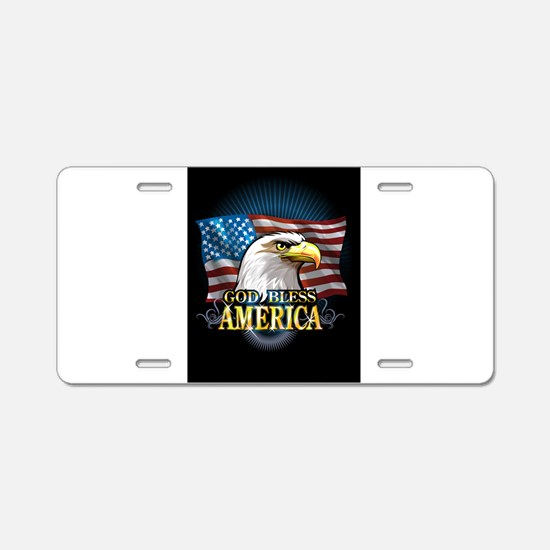 American Flags Aluminum License Plate